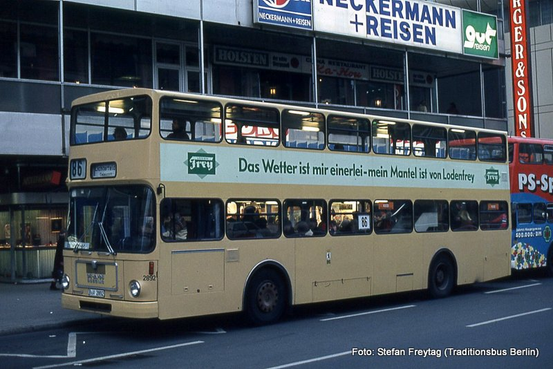 Traditionsbus Berlin Wagen 2892 Man Sd 200 Sd 76